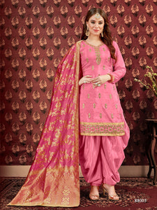 Pink Patiala Suit made of Pure Viscose Upad with Jacquard Dupatta