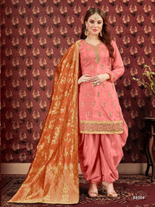 Peach Patiala Suit made of Pure Viscose Upad with Jacquard Dupatta