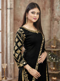 Black Patiala Suit made of Art Silk with Glass Work Border,Net Dupatta - Dani Fashions