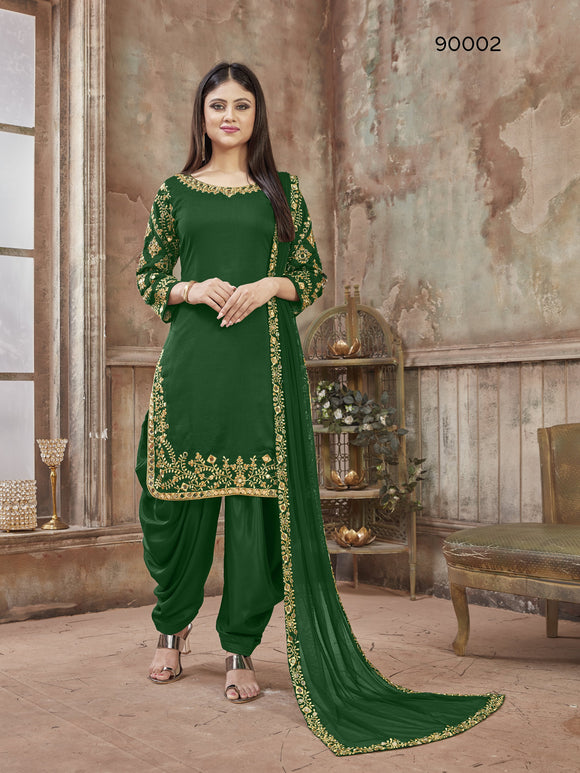 Green Patiala Suit made of Art Silk with Glass Work Border,Net Dupatta - Dani Fashions