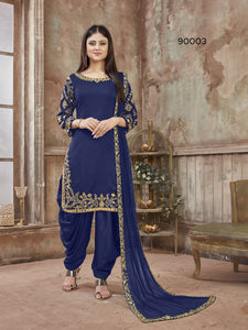 Blue Patiala Suit made of Art Silk with Glass Work Border,Net Dupatta - Dani Fashions