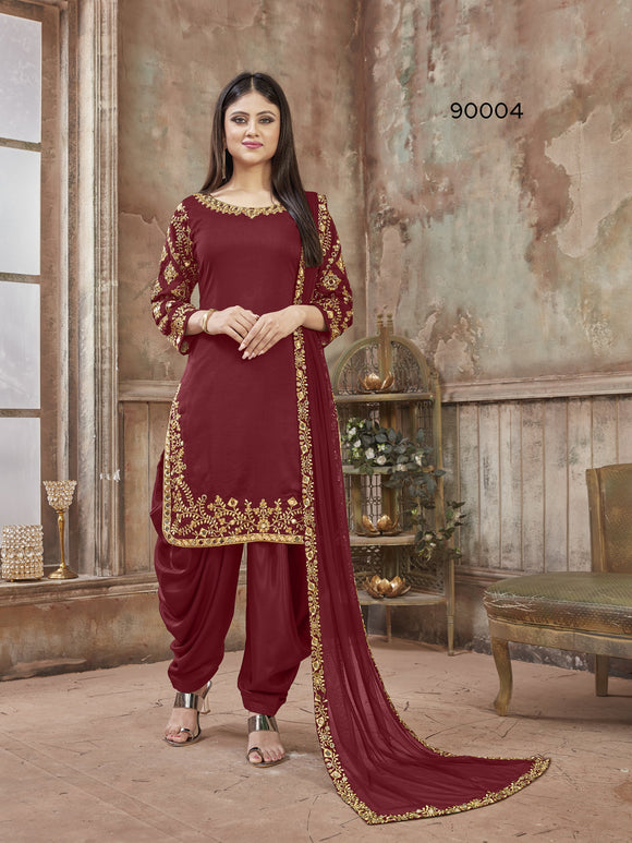 Red Patiala Suit made of Art Silk with Glass Work Border,Net Dupatta