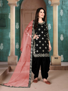 Black Patiala Suit made of Art Silk with Net And Glass Work Border Dupatta
