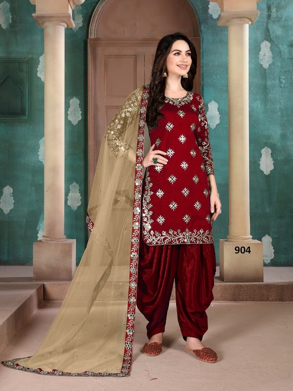 Red Patiala Suit made of Art Silk with Net And Glass Work Border Dupatta