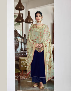 Blue Plazzo Suit  made of Velvet with Georgette Dupatta