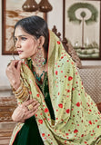 Green Plazzo Suit  made of Velvet with Georgette Dupatta
