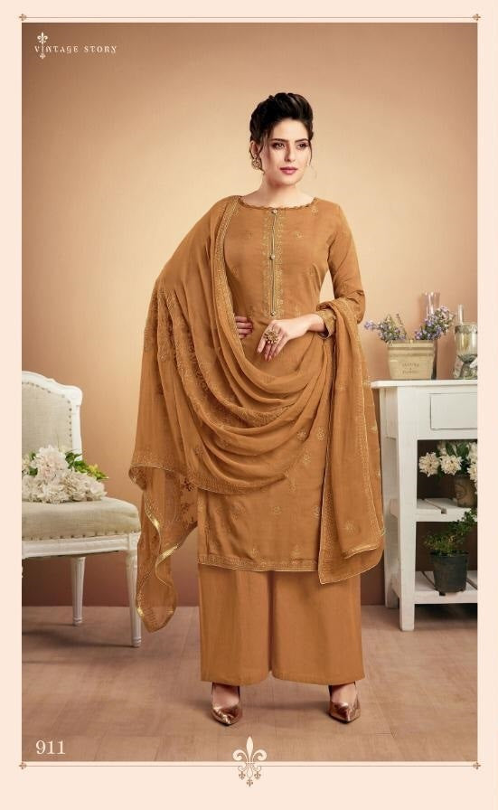 Brown Plazzo Suit  made of Muslin with Chiffon Dupatta