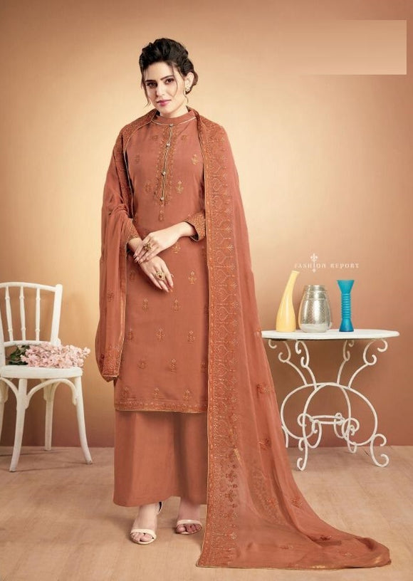Orange Plazzo Suit  made of Muslin with Chiffon Dupatta