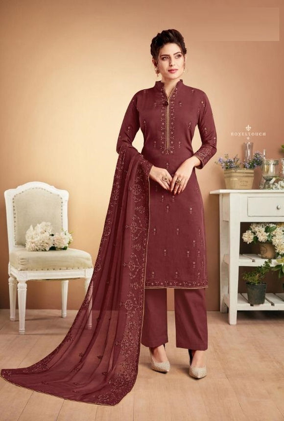 Purple Plazzo Suit  made of Muslin with Chiffon Dupatta