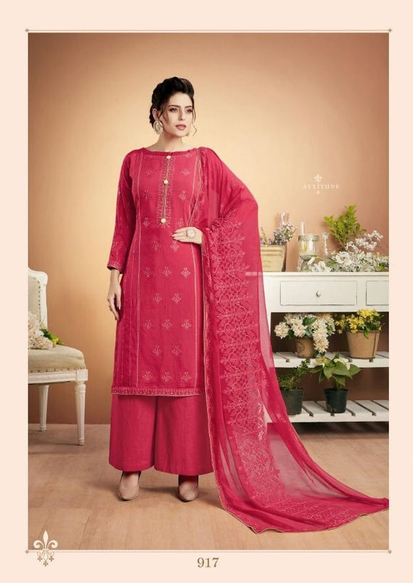 Pink Plazzo Suit  made of Muslin with Chiffon Dupatta