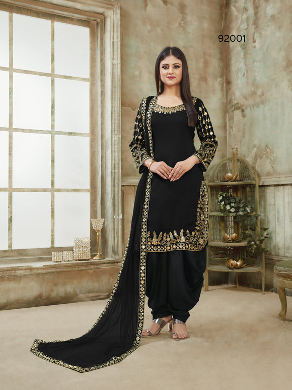 Black Patiala Suit made of Art Silk with Glass Work Border,Net Dupatta