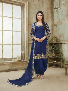 Blue Patiala Suit made of Art Silk with Glass Work Border,Net Dupatta
