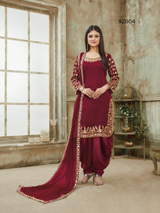 Red Patiala Suit made of Art Silk with Glass Work Border,Net Dupatta - Dani Fashions