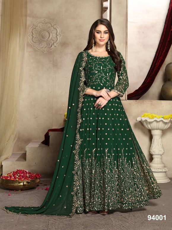 Green Color Faux Georgette Resham Work Anarkali Suits with Faux Georgette Duppatta - Dani Fashions