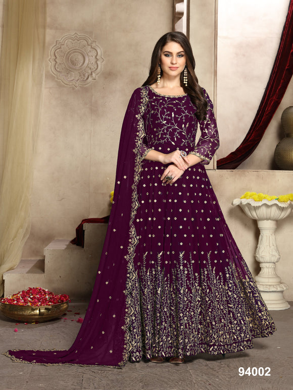 Plum Color Faux Georgette Resham Work Anarkali Suits with Faux Georgette Duppatta - Dani Fashions