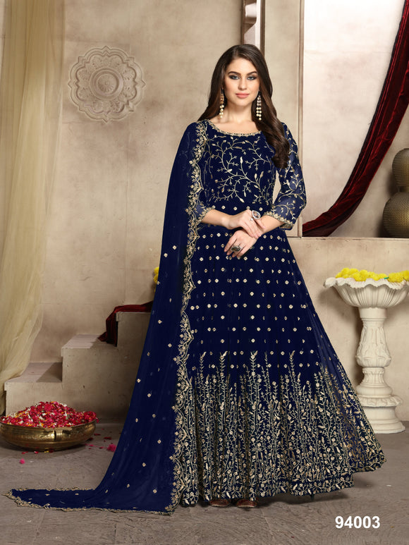Navy Blue Color Faux Georgette Resham Work Anarkali Suits with Faux Georgette Duppatta - Dani Fashions