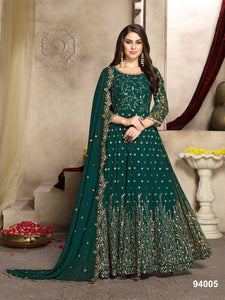 Rama Color Faux Georgette Resham Work Anarkali Suits with Faux Georgette Duppatta - Dani Fashions