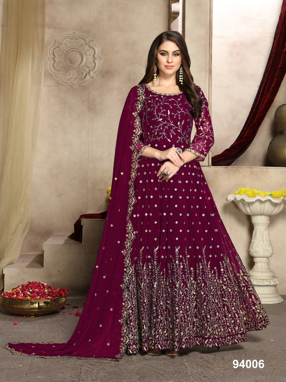 Magenta Color Faux Georgette Resham Work Anarkali Suits with Faux Georgette Duppatta - Dani Fashions