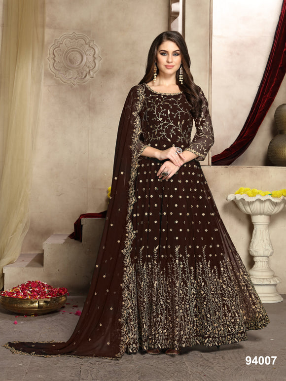 Coffee Color Faux Georgette Resham Work Anarkali Suits with Faux Georgette Duppatta - Dani Fashions