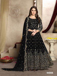 Black Color Faux Georgette Resham Work Anarkali Suits with Faux Georgette Duppatta - Dani Fashions