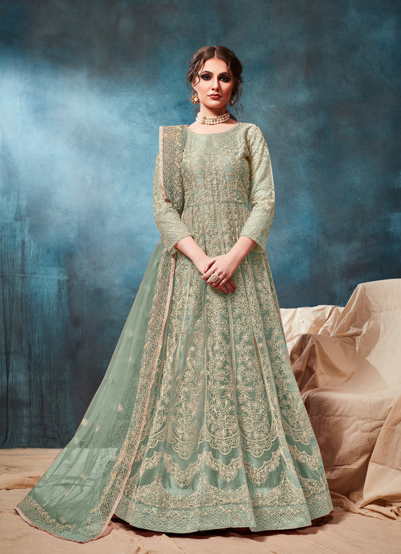 Pastle Sea Green Color Net Anarkali Suits with Net With Heavy Border Work Dupatta