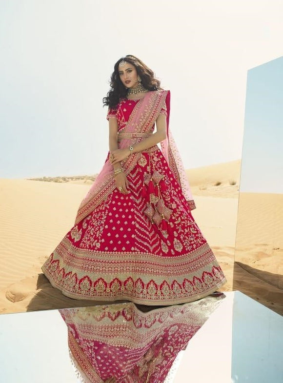 Pink Embroidered Fancy Fabric Lehenga Choli With Matching Blouse and Net Dupatta