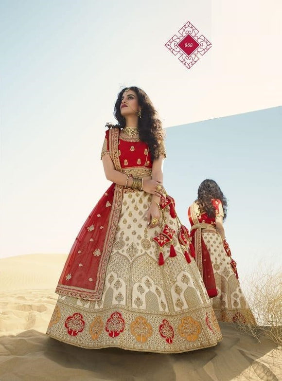 Beige Embroidered Fancy Fabric Lehenga Choli With Matching Blouse and Net Dupatta