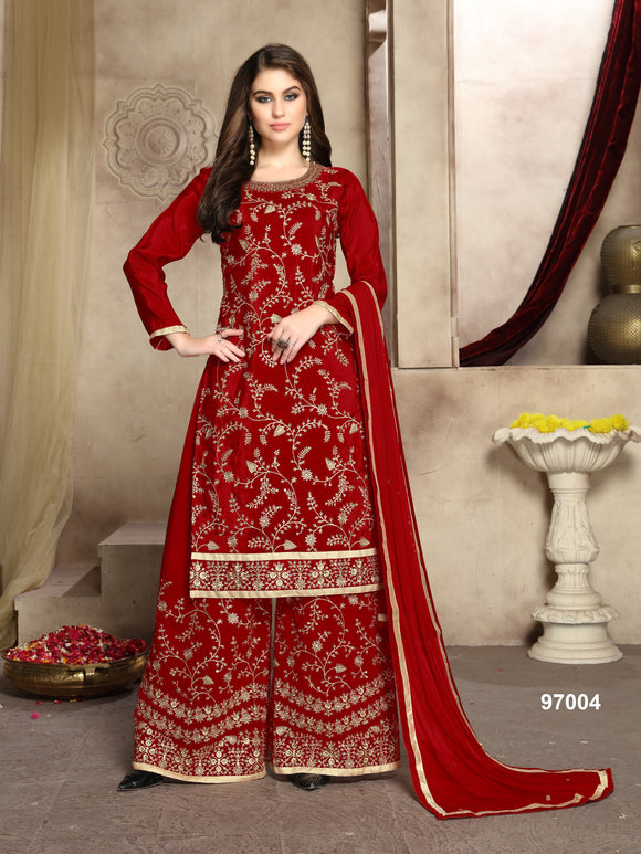 Red Plazzo Suit  made of Pure Viscose Upada Silk with Net Dupatta
