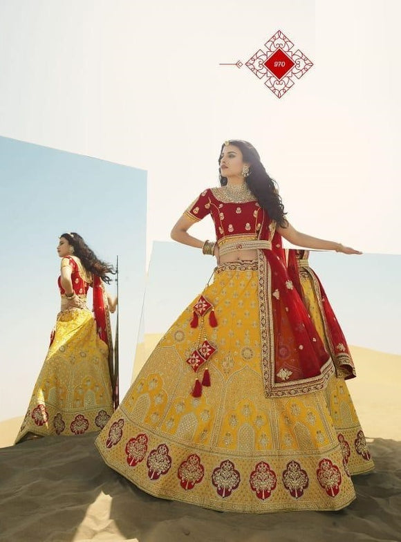 Yellow Embroidered Fancy Fabric Lehenga Choli With Matching Blouse and Net Dupatta