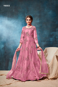 Pink Color Net Anarkali Suits with Net Dupatta - Dani Fashions
