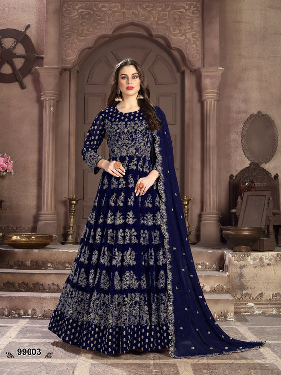 Blue Color Faux Georgette Anarkali Suits with Faux Georgette With Heavy Embroidery Border Work Dupatta