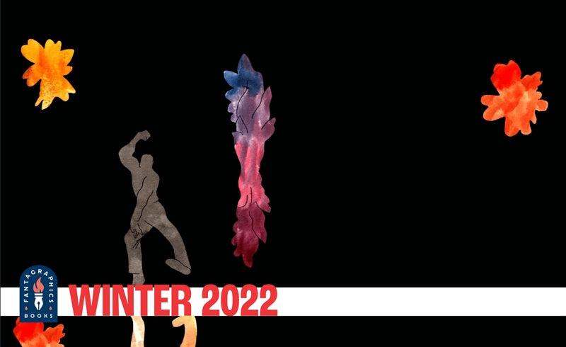 Fantagraphics Winter 2022 catalog, which features abstract shapes in bright watercolors against a black background.