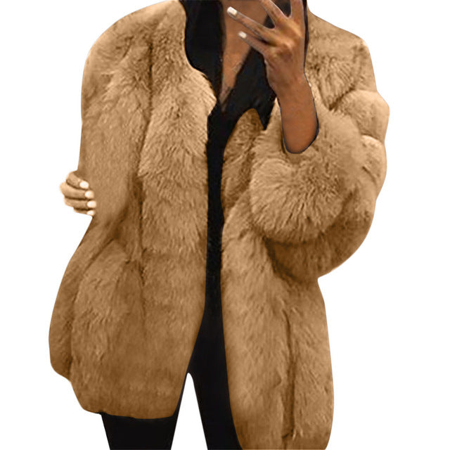 Women Plush Faux Fur Jacket Winter Warm Thicken Long Sleeve Solid Color Comfort Coats Fashion Plus Size Loose Womens Tops