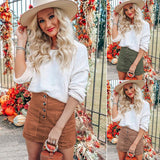 Women Fashion Corduroy Waist High Button Casual Party Mini Pocket Skirt