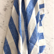 "Bath Sheet 2"" blue-white stripe - stone washed"