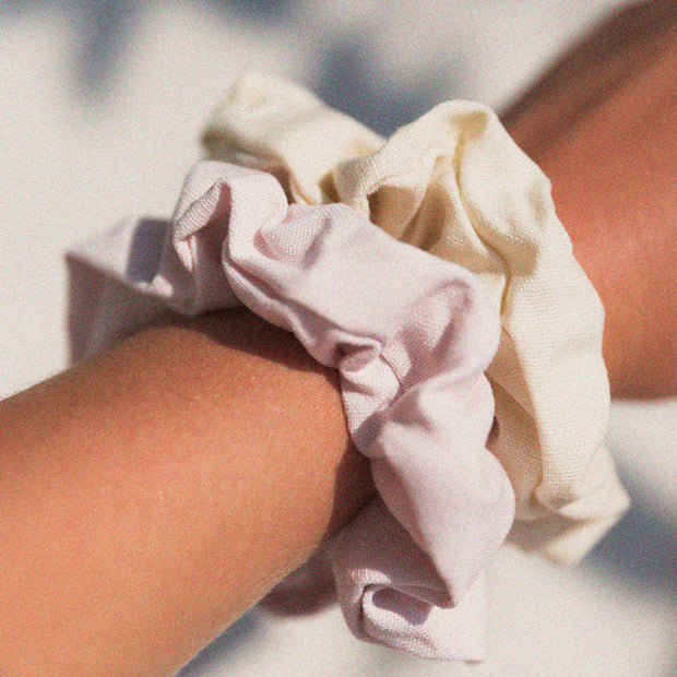 Barefoot Scrunchie Set - Dusty Pink & Natural Linen