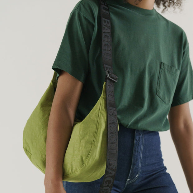 Recycled Nylon Crescent Bag Green Apple
