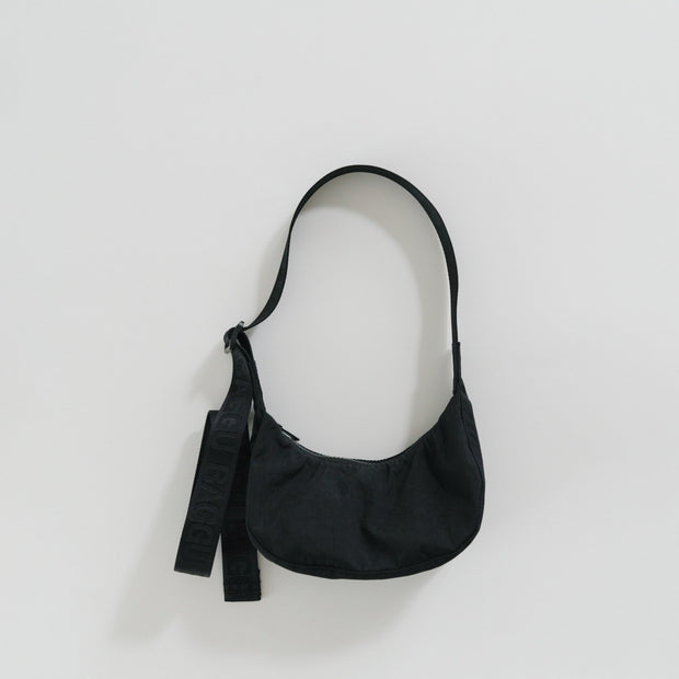 Mini Recycled Nylon Crescent Bag - Black