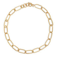 Ellipse Link Collar Necklace - 24k Gold Plated Brass