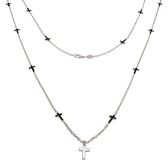 36-inch Faith Sterling Silver Necklace - Black