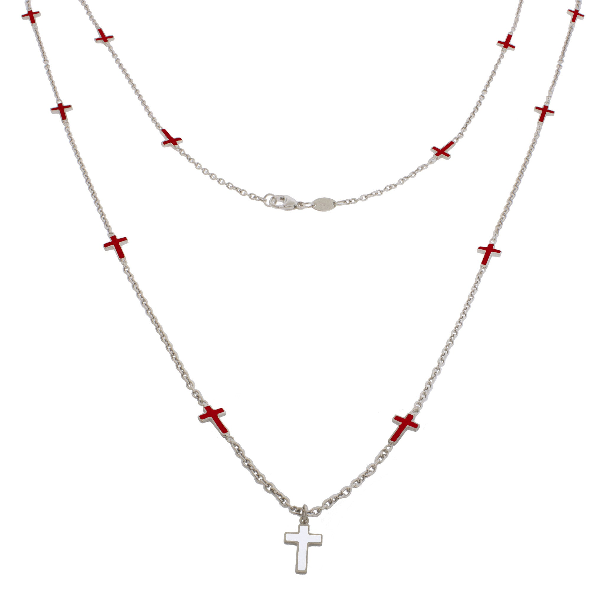 36-inch Faith Sterling Silver Necklace - Red