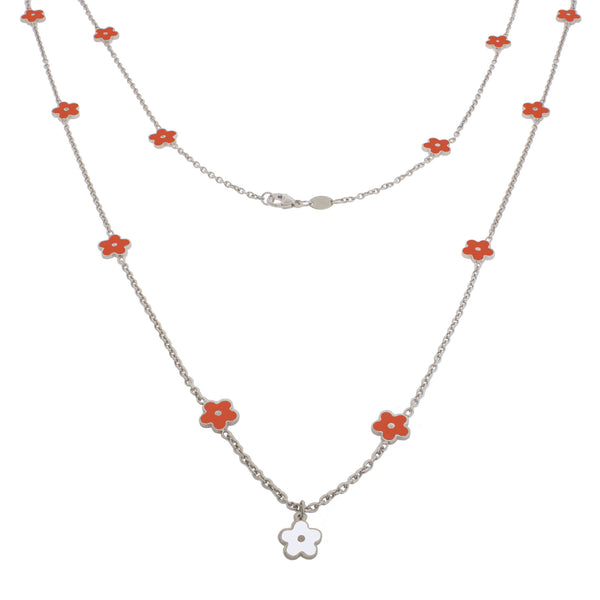 36-inch Smell the Flowers Sterling Silver Necklace - Orange