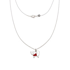 17-inch BFF Puppy Silver Necklace - White