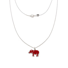17-inch Lucky Elephant Silver Necklace - Red