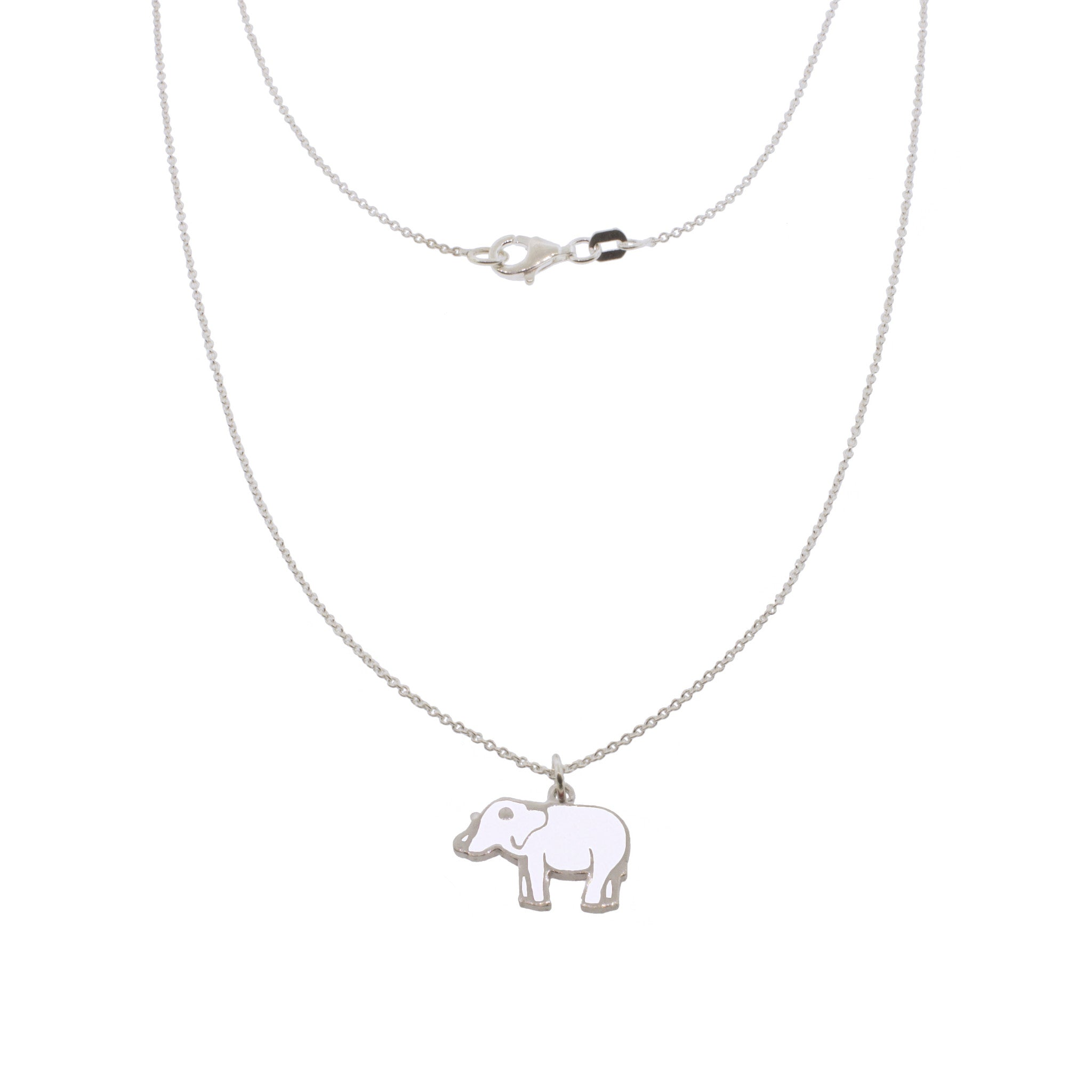 17-inch Lucky Elephant Silver Necklace - White