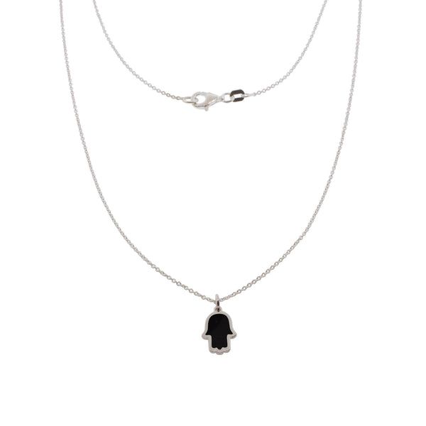 17-inch Touch of Luck Sterling Silver Necklace - Black