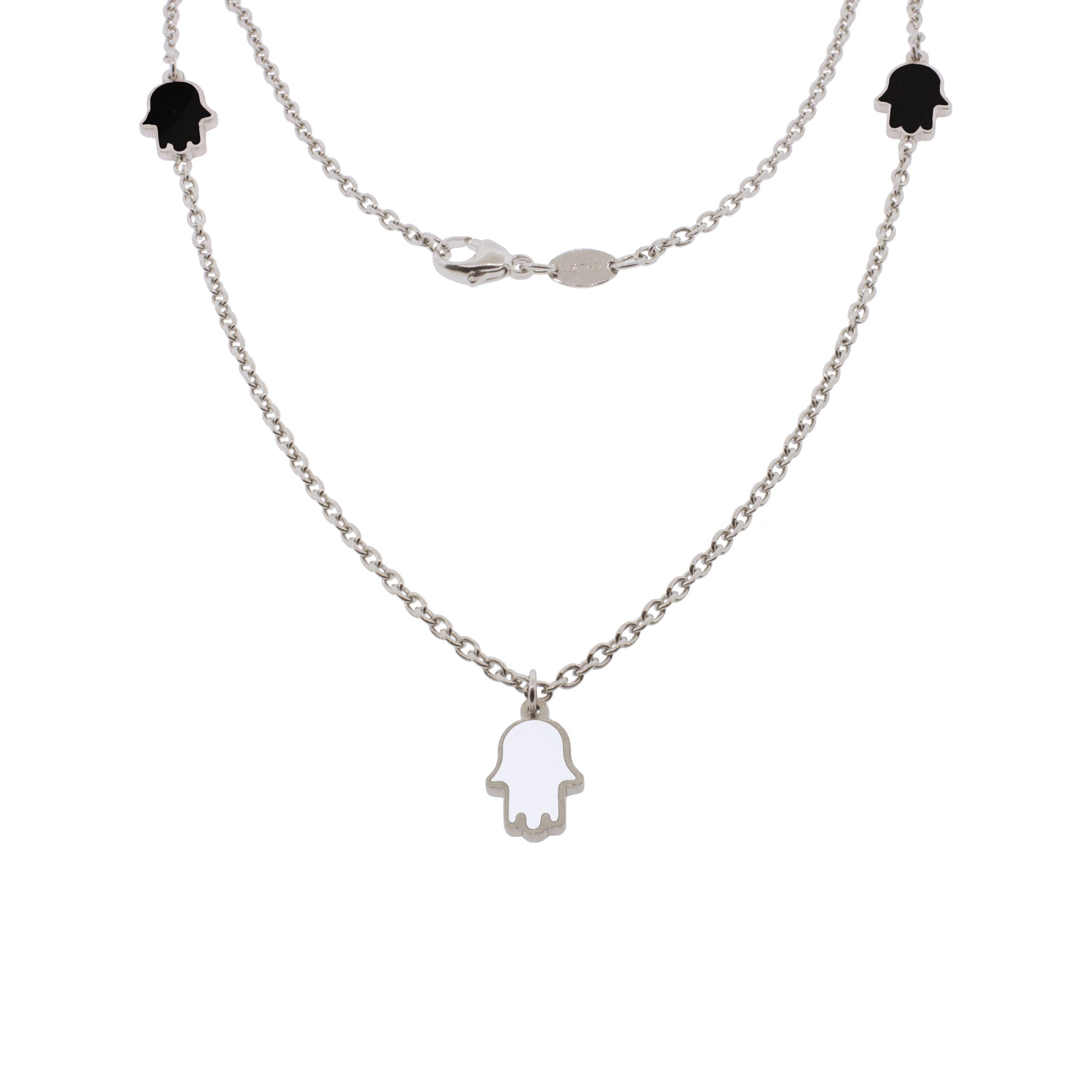 16-inch Touch of Luck Sterling Silver Necklace - Black