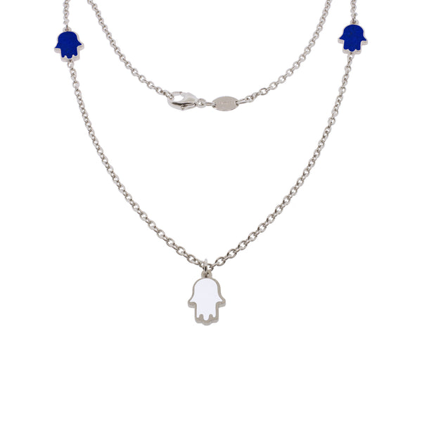 16-inch Touch of Luck Sterling Silver Necklace - Blue