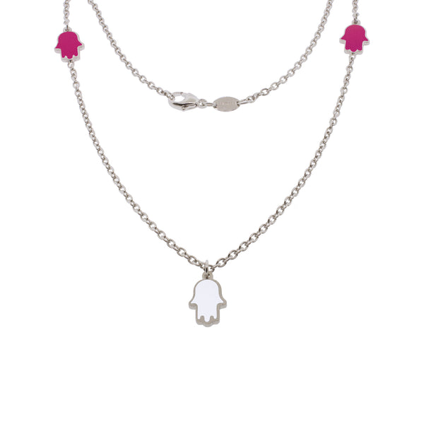 16-inch Touch of Luck Sterling Silver Necklace - Magenta