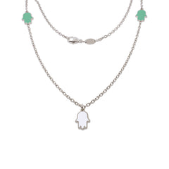 16-inch Touch of Luck Sterling Silver Necklace - Turquoise